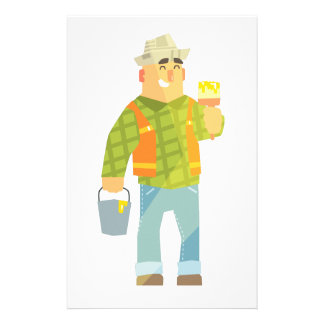 Builder With Paintbrush And Bucket On Construction Stationery