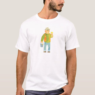 Builder With Paintbrush And Bucket On Construction T-Shirt