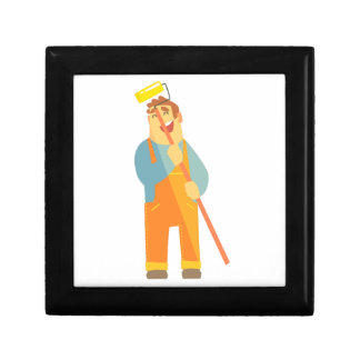 Builder With Painting Roll On Construction Site Gift Box
