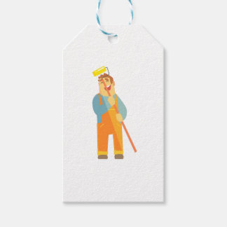 Builder With Painting Roll On Construction Site Gift Tags