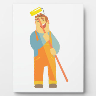 Builder With Painting Roll On Construction Site Plaque