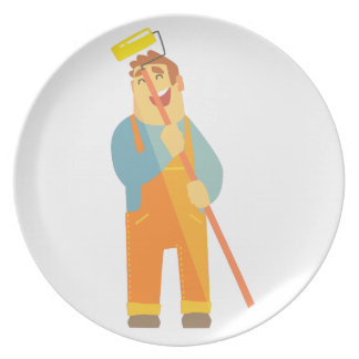 Builder With Painting Roll On Construction Site Plate