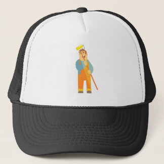 Builder With Painting Roll On Construction Site Trucker Hat