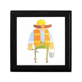 Builder With Trowel And Bucket On Construction Gift Box