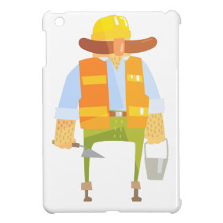 Builder With Trowel And Bucket On Construction iPad Mini Covers