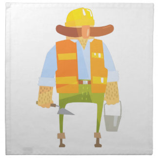 Builder With Trowel And Bucket On Construction Napkin