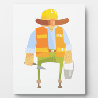 Builder With Trowel And Bucket On Construction Plaque