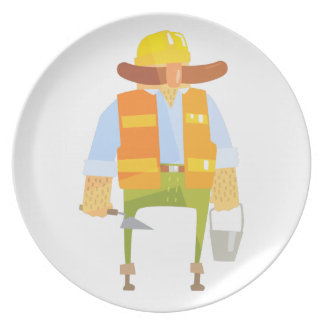 Builder With Trowel And Bucket On Construction Plate