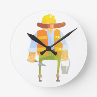 Builder With Trowel And Bucket On Construction Round Clock