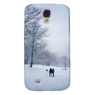 Building A Snowman In Central Park Galaxy S4 Case