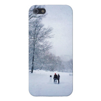 Building A Snowman In Central Park iPhone 5 Cases