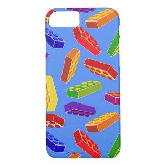 Building block toys tossed in colors on blue iPhone 8/7 case