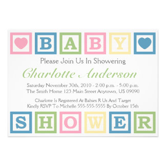 Building Blocks Baby Shower Invitiations Green Personalized Invite