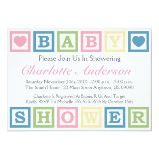 Building Blocks Baby Shower Invitiations (Pink) Card