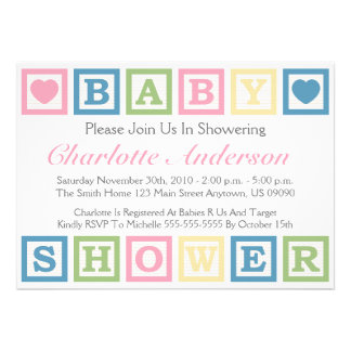Building Blocks Baby Shower Invitiations Pink Announcement