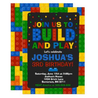 Building Blocks Birthday Invitation Bricks Party