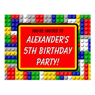 Building Blocks Boy's Birthday Party Invitation Postcard