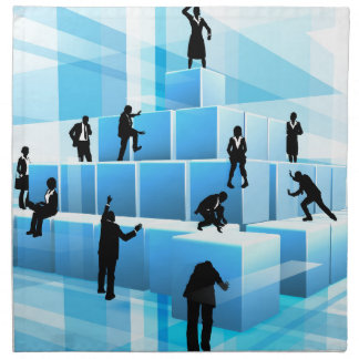 Building Blocks Business Team People Silhouettes Napkin