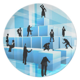 Building Blocks Business Team People Silhouettes Plate