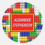 Building Blocks Personalised Boy's School Label Round Sticker
