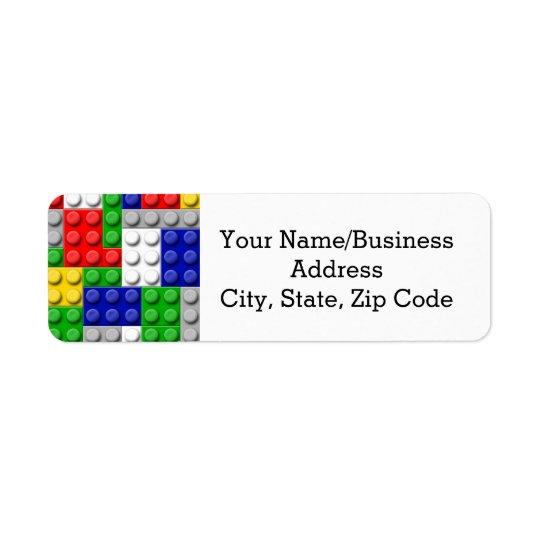 Building Blocks Primary Colour Boy's Return Address Label