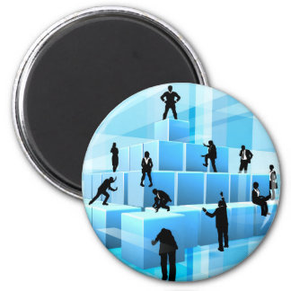 Building Blocks Silhouette Business Team People Magnet