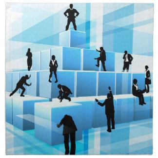 Building Blocks Silhouette Business Team People Napkin
