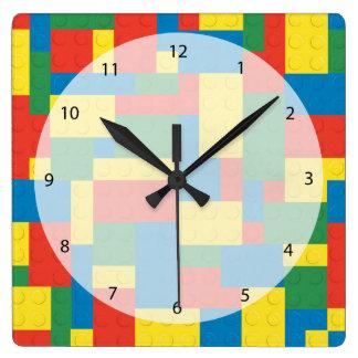 Building blocks square wall clock