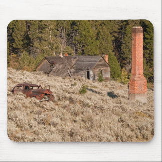Building, Chimney, Auto in a Ghost Town Mouse Pad