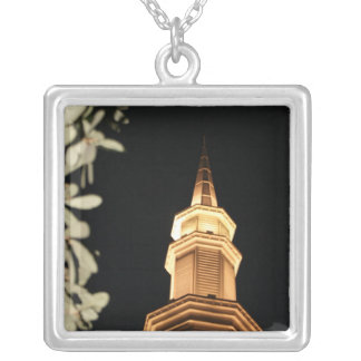 Building dome and leaf frame personalized necklace
