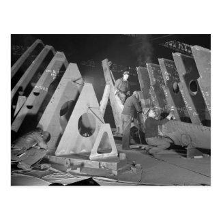 Building Liberty Ships, 1941 Postcard