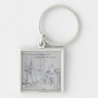 Building new houses Silver-Colored square key ring