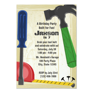 Building Party 13 Cm X 18 Cm Invitation Card