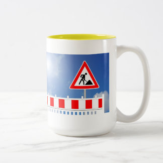 Building site, building site closing and building Two-Tone coffee mug