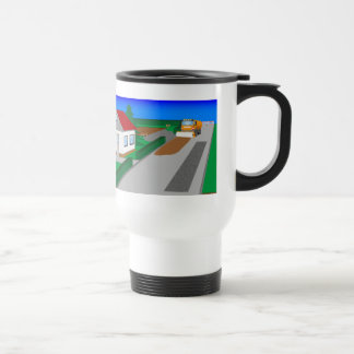 Building site with sweeping machine travel mug