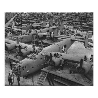 Building the B24 Fleet 1943 BW Poster