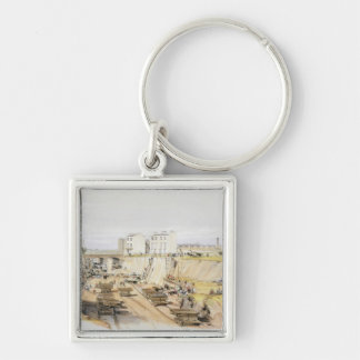 Building the Retaining Wall near Park Street, Camd Silver-Colored Square Key Ring