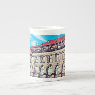 Building with statues bone china mug