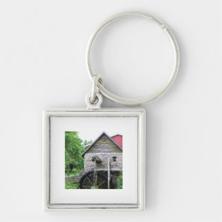 Building with Water-Wheel Silver-Colored Square Key Ring