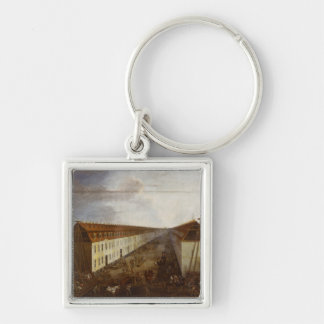 Building works on Friedrichstrasse in Berlin Silver-Colored Square Key Ring