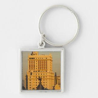 Buildings along Gran Via and Edificio Espana Silver-Colored Square Key Ring