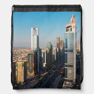 Buildings Along Sheikh Zayed Road, Dubai Drawstring Bag