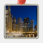 Buildings along the Chicago Riverfront at dusk. Ornaments