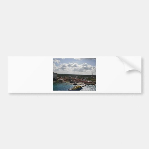 Buildings and boat on the beach bumper sticker