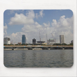 Buildings and bridge over Marina reservoir Mousepads