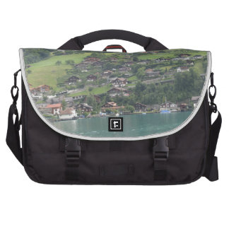 Buildings and greenery on shore of Lake Thun Laptop Shoulder Bag