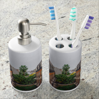 Buildings and Palm Trees in New Orleans Bathroom Set