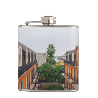 Buildings and Palm Trees in New Orleans Hip Flask