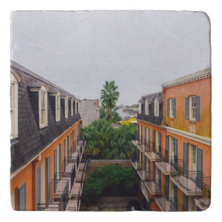 Buildings and Palm Trees in New Orleans Trivet