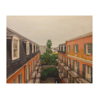 Buildings and Palm Trees in New Orleans Wood Wall Art